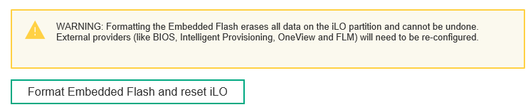 Format Embedded Flash and reset iLO