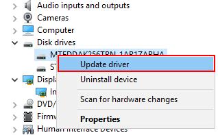 「ドライバーの更新」をクリック