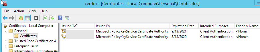 Microsoft PolicyKeyService Certificate Authorityの証明書が失効している