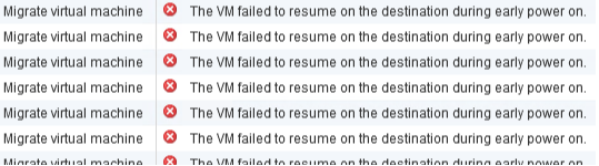 The VM failed to resume on the destination during early power onというエラーでVMを移動させられない