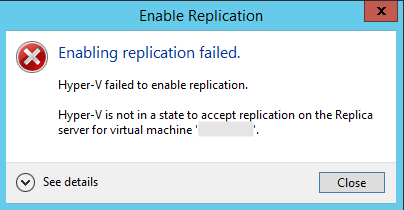 Hyper-V is not in a state to accept replication on the Replica server