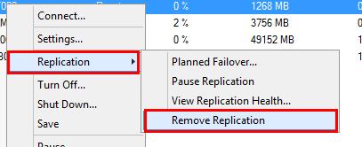 Hyper-V Replicaの設定を削除する