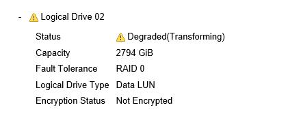Degraded(Transforming)というステータスになっている