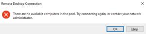 プール内に使用可能なコンピュータがありません。もう一度接続を試すか,ネットワーク管理者に問い合わせてください。